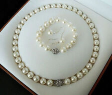 Charming 10mm White South Sea Shell Pearl Necklace bracelet Earring Set
