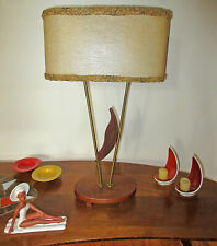 RARE VTG ATOMIC SPACE AGE MCM DANISH TEAK TABLE LAMP UNIQUE FIBERGLASS SHADE 50s