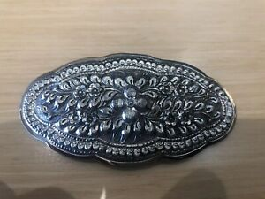 Large Victorian Style Sterling Silver 925 Hair Pin Clip Barrette with Stick