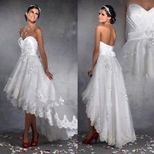 Short White/Ivory HI-Low Bridal Gown Wedding Dress Custom 4 6 8 10 12 14 16 18 +