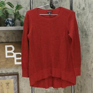 eileen Fisher Womens Petite Flare Merino Wool Pullover Sweater Red PM