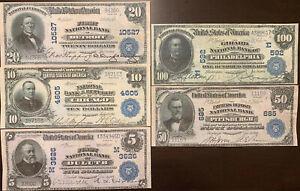 Reproduction Set 1902 National Bank Notes $5-$100 Bills Assorted Banks Copies US