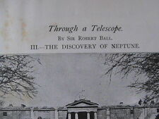 Discovery Planet Neptune Ball Astronomy Telescope Challis Rare Old Article 1896