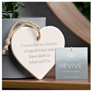 Serenity Ceramic Heart Plaque, handmade, hanging, inspiarational quote Revive
