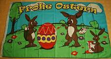 Frohe Ostern Hasenfamilie  Osterhasen Osterei Flagge Fahne Hißflagge 150 x 90 cm