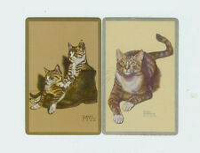 Single Swap U.S. Playing Cards Co (2) Brown Tabby Cats Gladys Emerson Cook Usa