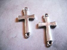 4 Cross Pendant Connectors Antiqued Silver Sideways Cross Charms Religious