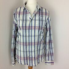 Ladies White Stuff Blue Pink & White Check Long Sleeved Slim Fit Shirt Size S
