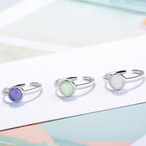 925 Sterling Silver Opal Round Stone Adjustable Ring Womens Mens Jewellery Gift