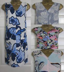 NEW Next Tunic Sun Shift Linen Blend Dress Summer White Blue Grey Floral 8-22
