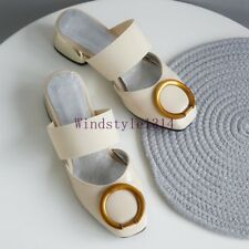 Womens Block Med Heel Slippers Close Square Toe Metallic Summer Casual Shoes Sz
