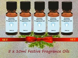 5 x 10ml Festive Fragrance Oils Set for Candles, Diffusers, Oil Burners.