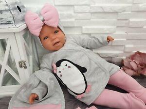 NEU! Baby Set Erstausstattung 5 Teile Neugeborenes Pinguin Rosa Mädchen Süß 56