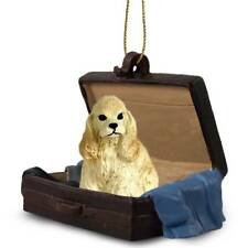 Cocker Spaniel Blond Traveling Companion Dog Figurine In Suit Case Ornament