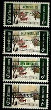 "United States Scott #1384 "" Christmas Precancel (4) Different Cities  Mint NH"