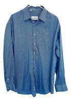 Ermenegildo Zegna Dress Shirt Blue 43/17 Long Sleeve Button Front Mens