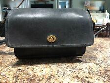 Vintage Coach Black Saddle Flap Crossbody Leather