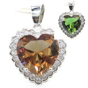 29x21mm Pretty Heart Shape Color Changing Spinel Cubic Zircon Silver Pendant