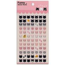 CUTE CAT FACE STICKERS Glitter Epoxy Sticker Sheet Craft Scrapbook Animal NEW