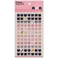 CUTE CAT FACE STICKERS Glitter Epoxy Sticker Sheet Craft Scrapbook Animal NEW