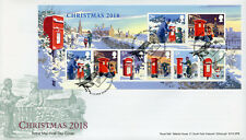 GB 2018 FDC Christmas Letter Pillar Boxes 8v M/S Cover Stamps
