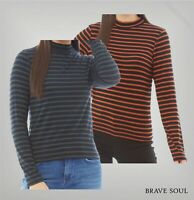 Ladies Brave Soul Ribbed Straight Long Sleeve Striped Top Sizes from 10 to 16