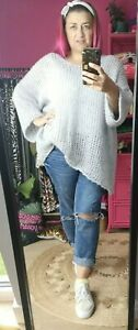 NEW COLOUR! SILVER GREY SOFT SLOUCHY LADIES LOOSE CHUNKY KNIT JUMPER O/SIZE10-20