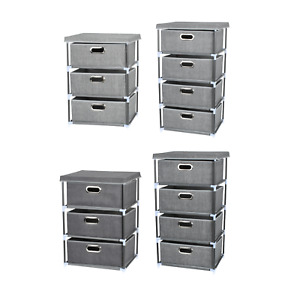 Fabric Chest of Drawers Cabinet Bedside Table Organiser Storage Unit 3/4 Drawer