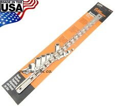 "Ullman 3/8"" Drive Steel Socket Rail Organizer Holder Metric SAE Made in USA"