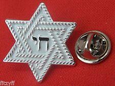 Chai Star of David Lapel Pin Badge Jewish Magen Judaism Hexagram Shield Hebrew
