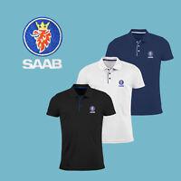 Homme SAAB Slim Fit Polo T Shirt Auto Voiture Logo Brodé Tee vêtements Cadeau