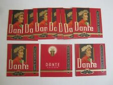 Lot of 10 Old Vintage - DANTE Cigarillos - Tobacco BOXES / Package Sleeve - RED