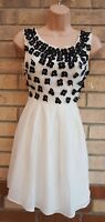 LIPSY IVORY WHITE BLACK BEADED FLORAL RUFFLE PARTY PROM A LINE SKATER DRESS 8 S