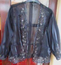 NWOT~ Designer Alex & Co~ Black Sheer Shimmer Short Jacket Size 16 wedding party