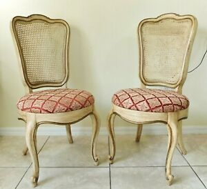 Beautiful PAIR Antique/Vtg French Provincial Cane Back Dining Accent Side Chairs