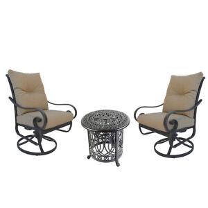 Santa Anita outdoor patio 3-piece cast aluminum bistro set table chairs swivels