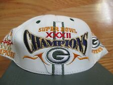 Super Bowl XXXII GREEN BAY PACKERS Champs (Adjustable Snap Back) Leather Cap WHT