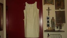 BAGATELLE LEATHER DRESS PEARLY BISQUE CREAM IVORY OPEN NECK SHIFT*US12/UK14