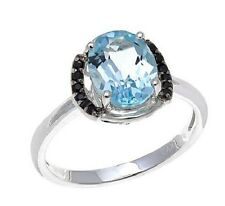 Fine Jewelry by Sevilla Silver Sky Blue Topaz and Black Spinel Ring Size 6
