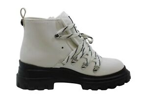 Calvin Klein Womens Lark Closed Toe Ankle Combat Boots, White, Size 9.0 BHix
