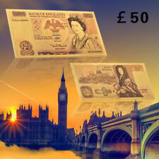 WR 1980s British 50 Pound Bank Notes Gold Foil Plated Banknote Rare Collection