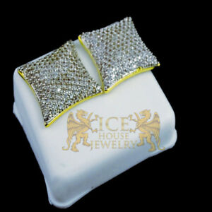 14K YELLOW GOLD FINISH  BOLD 12MM NEW MEN KITE SQUARE LAB DIAMOND STUD EARRINGS