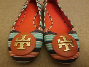 Tory Burch Women Striped Blue Multi Color Big Logo Ballet Flats Shoes Size 6.5 M