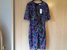 Whistles Maria Floris Print Bodycon Silk Dress Purple Uk10 12 10