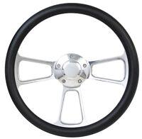 "Ford Pick Up Truck 14"" Black & Polished Billet Steering Wheel with Horn"