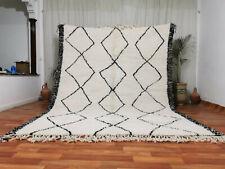 Moroccan Handmade Beni Ourain Wool Rug 7'8x10' Geometric Berber White Black Rug