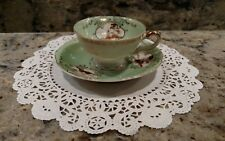 "1 VINTAGE GREEN, WHITE & GOLD UCAGCO CHINA ""OCCUPIED JAPAN"" TEA CUP AND SAUCER"