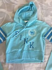 VICTORIAS SECRET PINK LOVE PINK BLUE HOODIE  T SHIRT    SZ  S