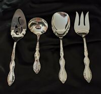 4 pc vintage unused hostess set Rogers Intl 1964 Camelot Melody silver plate