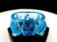 """EAPG EARLY AMERICAN PATTERN GLASS BLUE DIAMOND FACETED FOOTED OVAL 3"""" SALT DIP"""